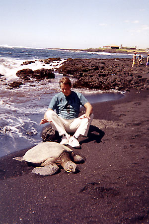 Jim with turtle at Blacksands beach